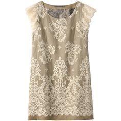 【ELLE SHOP】フラワーレースワンピースホワイト|アウラ アイラ(AULA AILA)|ファッション通販 エル・ショップ (1.445 VEF) ❤ liked on Polyvore featuring dresses, tops, vestidos, shirts and aula aila