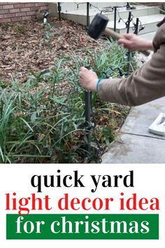 If you put off Christmas decoration check out this quick outdoor DIY for Christmas just in time for holiday decorating. Decorate your front yard quickly and on a budget wit this easy yard light decoration from home depot.