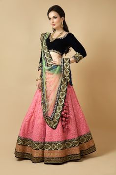 Net ghagra and dupatta with velvet blouse embellished with thread, moti, zardozi and sequins work. Item number W15-134