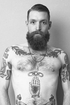 hot beard and tattoo's
