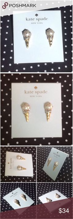 Kate Spade Ice Cream Cone Studs New with tag on cardboard backing Kate Spade carnival nights ice cream cone stud earrings. 14K gold fill, enamel & glass stone detail kate spade Jewelry Earrings