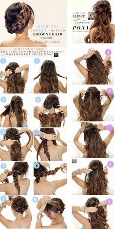 Easy Back to School #Hairstyles with Merged #Braids | #hair tutorial video | #style #bun #crownbraid #braid #braided #updo #updos #hairstyle #summer #wedding #fashion #halfuphalfdown #halfup