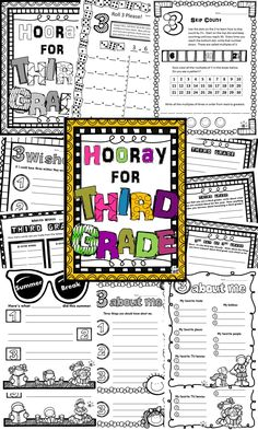 First week of school Third Grade activities - especially great for a 3rd Day of 3rd Grade celebration! Each sheet is great for centers or whole class activities. Math, writing, word work, and a coloring page are included.
