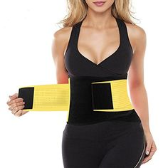 9e293aa9bb271 FeelinGirl Adjustable Waist Trimmer Belt Workout Enhancer Stomach Body Wrap  for Women Size XXL Yellow