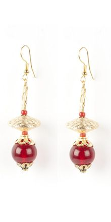 Gorgeous Golden And Red Beaded Earrings | Rs. 275 | http://voylla.com