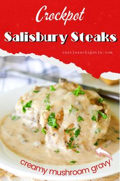 Grandma knew what she was doing when she put these easy salisbury steaks on the table! Tender beef in a rich mushroom gravy is so easy to make in the crockpot for busy weeknights. Serve with angel biscuits to sop up every last bit! Difficulty level 2/10