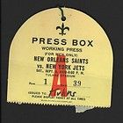 1970 NY Jets vs New Orleans Saints NFL Football Press Pass Ticket #D4014 - #D4014, 1970, FOOTBALL, Jets, orleans, Pass, Press, saints, ticket