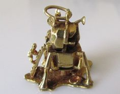 Large Solid 9ct gold First Man on Moon Charm by TrueVintageCharms