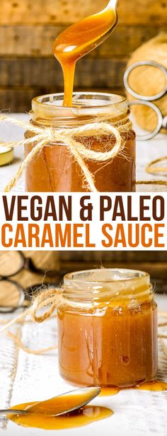 Paleo & Vegan Caramel Sauce - This paleo & vegan caramel sauce is a true revelation. Healthy, dairy free and refined sugar free, it doesn't quite seem possible – but it is. And it's delicious. The recipe is quick and easy – only 3 ingredients and 5 minutes needed! Add a pinch of salt to make a vegan salted caramel sauce! Paleo recipes. Vegan recipes. Paleo and vegan dessert. Healthy recipes. Healthy food. Healthy dessert. #healthy #vegan #paleo #dessert #recipe