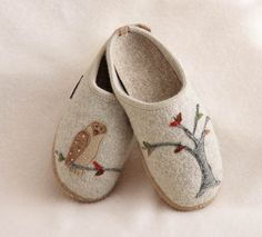 Giesswein Embroidered Owl Slippers - Giesswein Slippers - Sleepwear & Apparel - Cuddledown