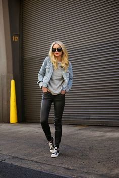 Leather jeans, grey tee and denim jacket.