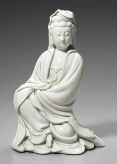Lot A Dehua figure of Guanyin, century. Estimate USD - USD Photo Christie's Image Ltd 2016 . Guanyin, Buddhist Art, Qing Dynasty, White Porcelain, 18th Century, Her Hair, Art Museum, Sculptures, Buddha Statues