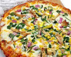 Roasted Chicken, Cilantro and Corn Pizza (Gluten-free) by theintentionalminimalist #Pizza #Chicken #Corn #Gluten_Free