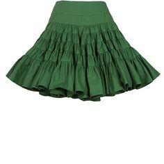Azzedine Alaïa Green Flounced Wrap Skirt ($2,780) ❤ liked on Polyvore