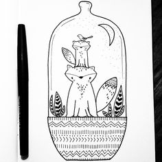 Momma Fox Can't Sleep. :) Day 93 of yearlong 30 minute a day sketchbook project. © #matssketchgroup #journalsketch #sketch #drawing #art #illustration #fox #bird #animal #nature #moon #night #pattern #tribal #cute #kidsart #childrensart #terrarium
