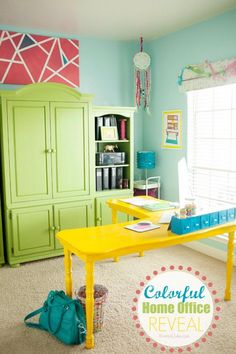 Colorful Home Office Reveal! Great home office decor ideas! Love all the bright colors! Home Office Space, Home Office Decor, Home Decor, Office Ideas, Office Setup, Craft Room Storage, Room Organization, Craft Rooms, Diy Spring