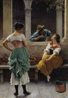 Eugene de Blaas - FLIRTATION, oil on canvas on MutualArt.com