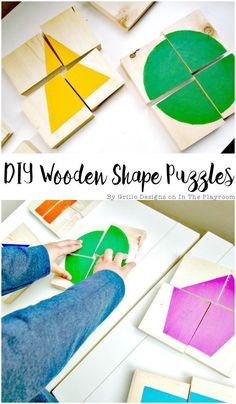 DIY Wooden Shape Puzzles How to make your own DIY Wooden shapes puzzles. These are pretty simple and so cute and fun! A great way to work on learning shapes with toddlers and also colours The post DIY Wooden Shape Puzzles appeared first on Toddlers Ideas. Montessori Toddler, Toddler Toys, Diy Montessori Toys, Montessori Materials, Toddler Learning Toys, Learning For Toddlers, Diy Preschool Toys, Toddler Puzzles, Preschool Learning