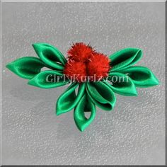 Kanzashi Christmas  Holly Hair Clip by GirlyKurlz on Etsy, $6.97