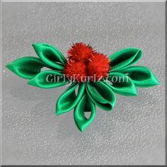 Kanzashi Christmas  Holly Hair Clip by GirlyKurlz on Etsy, $6.97