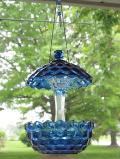 Glass Yard Art | Recycled vintage glass bird feeders made out of pretty glass bowls and ...