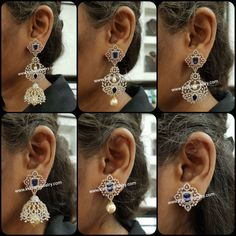 Diamond Earrings Indian, Diamond Mangalsutra, Indian Jewelry Earrings, Diamond Earing, India Jewelry, Ear Jewelry, Bridal Jewellery, Diamond Jewellery, Diamond Studs