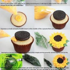 Sunflower Cupcakes - fun spring project for the kids (using organic oreo-esque cookies instead) Sunflower Cupcakes, Sunflower Party, Sunflower Wedding Themes, Sunflower Cake Ideas, Sunflower Birthday Cakes, Sunflower Decorations, Sunflower Oil, Cake Decorating Tips, Cookie Decorating