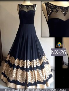 60+Gm+Georgette+Machine+Work+Black+Semi+Stitched+Long+Anarkali+Suit+-+NX26 at Rs 2399