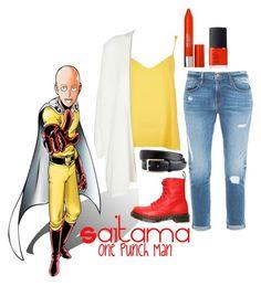 """Saitama-One Punch Man"" by xxspirit-lessxx ❤ liked on Polyvore featuring River Island, Frame Denim, Minimum, Dr. Martens, NARS Cosmetics and Revlon"