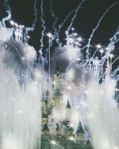 Fireworks over disneyland paris castle