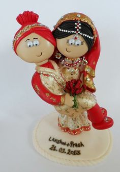 Personalized Asian/Indian Bride & Groom wedding cake topper by Googly Gifts wedding cake toppers | Hatch.co
