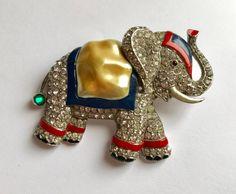 Trifari ELEPHANT Pin BROOCH Philippe Pearl Belly Painted Enamel & Rhinestone 1940s by jewelryannie on Etsy