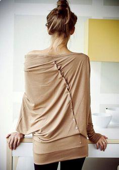 Khaki Plain Irregular Back Single Breasted Boat Neck Off-shoulder Dolman Sleeve T-Shirt