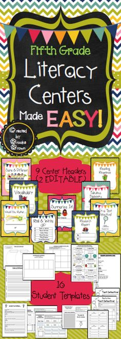 *NEW DESIGN!* Fifth Grade Literacy Centers Made EASY!