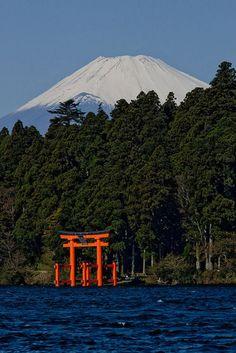 Mount Fuji and torii gate (Shinto shrine), Lake Ashi, Hakone, Japan.
