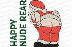 Happy Nude Rear Santa Toilet Paper Embroidery Design