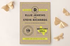 Poster-type wedding invitations in bright color options