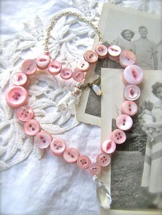 Shabby Chic Hanging Button Heart Wall Decor PINK by SweetMeas, $65.00