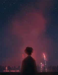 Гиф анимация Мальчик стоит на фоне неба с салютами, by miena