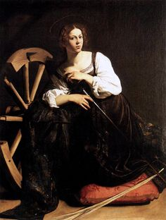 Caravaggio - portrait of a young woman as St Catherine (before restoration - see above in this board for after restoration where the robe drape around her is actually blue and you can see the golden halo) c. 1598