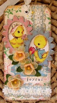 Spring chick tags. What can I do with so many beautiful tags to make? Bookmarks? Fridge magnets? What?