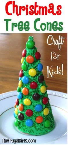 Christmas Tree Cone Craft for Kids!  These make such fun additions to your Gingerbread house or village, and the kids will love eating them up, too! | TheFrugalGirls.com