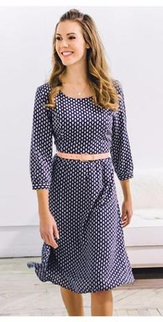 Navy Lolly Dress  Modest Fall Dress Modest Teacher Dress