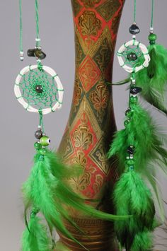Green hair clips pendants handmade exclusive Dreamcatcher hair clips pendants Green DreamCatcher Dreamcatchers Christmas green hair clips by BestDreamcatcherShop on Etsy Dream Catcher Jewelry, Dream Catcher White, Rooster Feathers, Bad Dreams, Selling On Pinterest, Healthy Sleep, Evil Spirits, Ceramic Beads, Green Hair