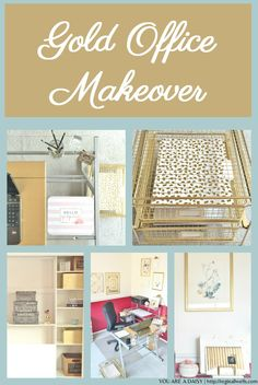 Gold Office Makeover - Bring on the Bling on @reginallwells   Gold office makeover reveal, including super easy DIY projects to convert your home office into a place of inspiration. http://www.rustoleum.com/en/Rustoleum/product-catalog/consumer-brands/specialty/metallic-spray