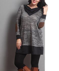 Charcoal Mélange & Black Elbow Patch Cowl Neck Tunic - Plus