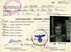 Channel Islands identity card | Identity card of Miss Mildred Le Huray issued by the Controlling Committee of the States of Guernsey [German/English] with German stamp and photograph, Stamped May 1945.