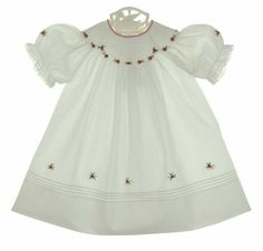 NEW Feltman Brothers White Bishop Smocked Dress with Red Rosebuds