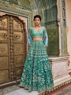 Indian designer rama green lehenga choli for wedding outfits. For order whatsapp us on wedding outfits wedding dress wedding dresses lengha lehnga sabyasachi manish malhotra Bridal Lehenga Choli, Indian Lehenga, Wedding Lehnga, Punjabi Wedding, Indian Wedding Outfits, Indian Outfits, Blue Outfits, Indian Clothes, Lehenga Color Combinations
