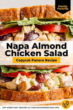 If love the chicken salad at Panera Bakery, you are going to adore this homemade version of their Napa almond chicken salad. The chicken salad is covered in a creamy mayo dressing for one of the best sandwich fillings you'll find!